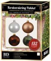 Complete kerstballen set champagne wit mahonie groen voor 180 cm kerstboom