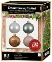 Complete kerstballen set champagne wit mintgroen lichtroze voor 180 cm kerstboom