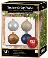 Complete kerstballen set champagne wit parel donkerblauw voor 180 cm kerstboom
