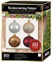 Complete kerstballen set champagne wit parel donkerrood voor 180 cm kerstboom