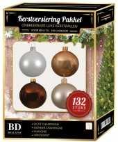 Complete kerstballen set champagne wit parel mahoniebruine voor 180 cm kerstboom
