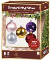 Complete kerstballen set gekleurd voor 180 cm kerstboom