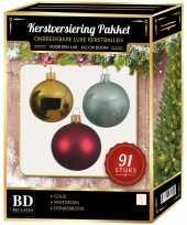 Complete kerstballen set goud donkerrood mintgroen voor 150 cm kerstboom