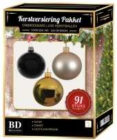 Complete kerstballen set goud licht champagne zwart voor 150 cm kerstboom