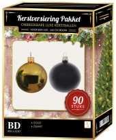 Complete kerstballen set goud zwart voor 150 cm kerstboom