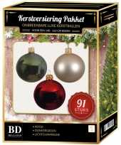 Complete kerstballen set licht champagne donkergroen rood voor 150 cm kerstboom