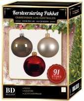 Complete kerstballen set licht champagne kasjmier bruin rood voor 150 cm kerstboom