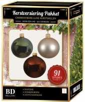 Complete kerstballen set licht parel champagne donkergroen mahonie bruin voor 150 cm kerstboom