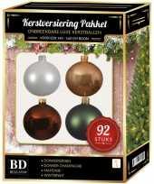 Complete kerstballen set wit beige bruin donkergroen voor 150 cm kerstboom