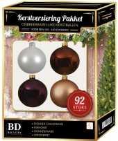 Complete kerstballen set wit beige bruin paars voor 150 cm kerstboom