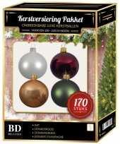 Complete kerstballen set wit champagne donkerrood donkergroen voor 210 cm kerstboom