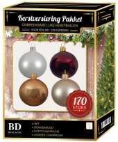 Complete kerstballen set wit champagne mahonie donkerrood voor 210 cm kerstboom