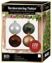 Complete kerstballen set wit champagne mahonie voor 210 cm kerstboom