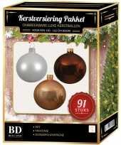 Complete kerstballen set wit donker parel champagne mahonie bruin voor 150 cm kerstboom