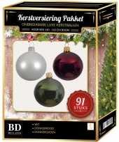 Complete kerstballen set wit donkerrood donkergroen voor 150 cm kerstboom