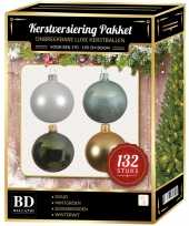 Complete kerstballen set wit goud donkergroen mintgroen voor 180 cm kerstboom