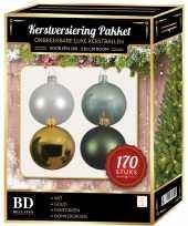Complete kerstballen set wit goud donkergroen mintgroen voor 210 cm kerstboom