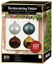 Complete kerstballen set wit goud ijsblauw mahoniebruine voor 180 cm kerstboom