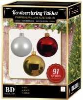 Complete kerstballen set wit goud kerst rood voor 150 cm kerstboom
