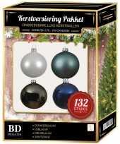 Complete kerstballen set wit grijsblauw ijsblauw donkerblauw voor 180 cm kerstboom