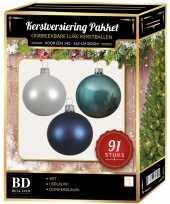 Complete kerstballen set wit ijsblauw donkerblauw voor 150 cm kerstboom