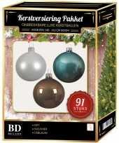 Complete kerstballen set wit ijsblauw kasjmier bruin voor 150 cm kerstboom