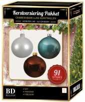 Complete kerstballen set wit ijsblauw mahonie bruin voor 150 cm kerstboom