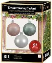 Complete kerstballen set wit mintgroen lichtroze voor 150 cm kerstboom