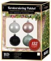 Complete kerstballen set wit mintgroen lichtroze zwart voor 180 cm kerstboom
