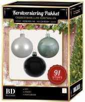 Complete kerstballen set wit mintgroen zwart voor 150 cm kerstboom