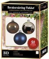 Complete kerstballen set zilver donkerblauw kasjmier bruin voor 150 cm kerstboom