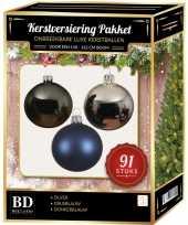 Complete kerstballen set zilver grijsblauw donkerblauw voor 150 cm kerstboom