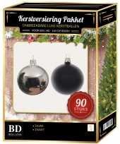 Complete kerstballen set zilver zwart voor 150 cm kerstboom