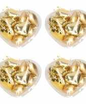 Gouden kerstboomversiering kerstballen hart 40 stuks