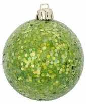 Groene kerstversiering 1x kerstballen groen 8 cm