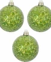Groene kerstversiering 3x kerstballen groen 8 cm
