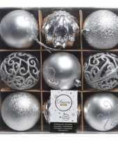 Kerst zilveren kerstballen mix van kunststof 9 stuks