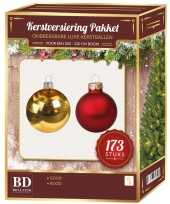 Kerstballen en kerstversiering set voor 210 cm boom rood goud