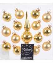Kerstballen en piek pakket voor mini kerstboom goud 15 stuks