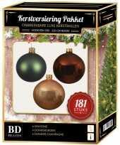 Kerstballen met piek set champagne bruin groen voor 210 cm kerstboom