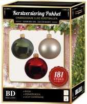 Kerstballen met piek set champagne groen rood voor 210 cm kerstboom