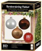 Kerstballen met piek set donker champagne wit bruin voor 210 cm kerstboom