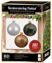 Kerstballen met piek set donker champagne wit donkergroen voor 210 cm kerstboom