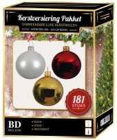 Kerstballen met piek set goud wit rood voor 210 cm kerstboom