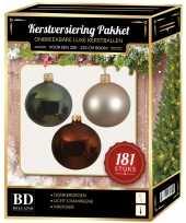 Kerstballen met piek set licht champagne bruin groen voor 210 cm kerstboom