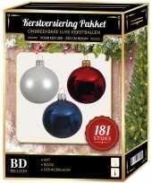 Kerstballen met piek set wit blauw rood voor 210 cm kerstboom