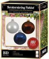 Kerstballen met piek set wit bruin blauw voor 210 cm kerstboom