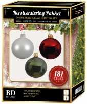 Kerstballen met piek set wit donkerrood groen voor 210 cm kerstboom