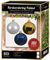 Kerstballen met piek set wit goud blauw voor 210 cm kerstboom