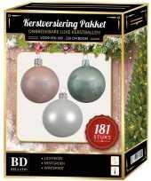 Kerstballen met piek set wit mintgroen lichtroze voor 210 cm kerstboom